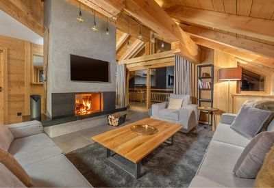 The inside of the large luxury ski chalet Eden West