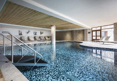 A large indoor swimming pool at the self catered apartments Daria-I-Nor