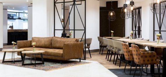 A modern designed seating area in a high end hotel