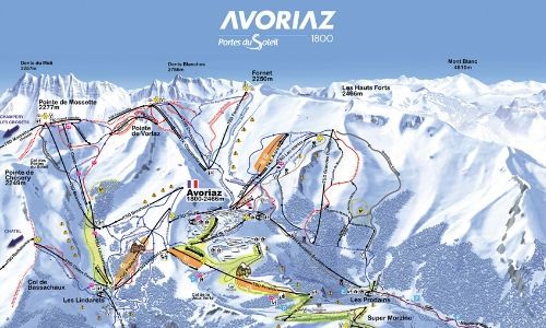 A thumbnail of a piste map of the Avoriaz ski area in the Portes du Soleil