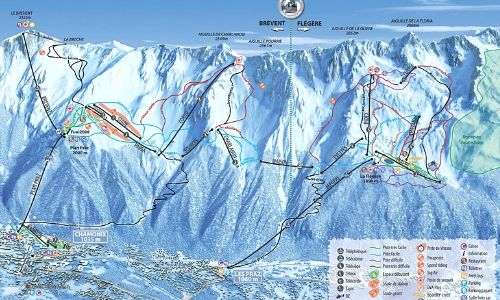 A thumbnail of a piste map of the Brevent Flegere ski area