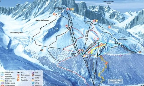 A thumbnail of a piste map of the Grand Montets ski area
