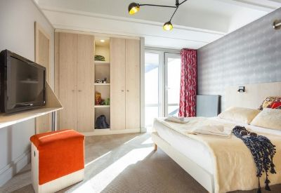 A modern double hotel room at  MMV Hotel Le Flaine
