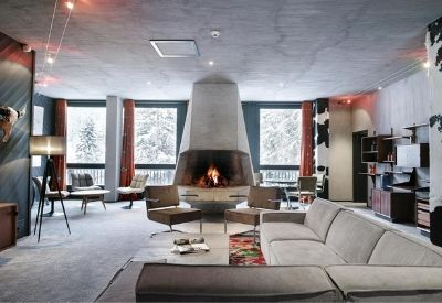 A high-end, modern lounge area in Hotel Terminal Neige Totem