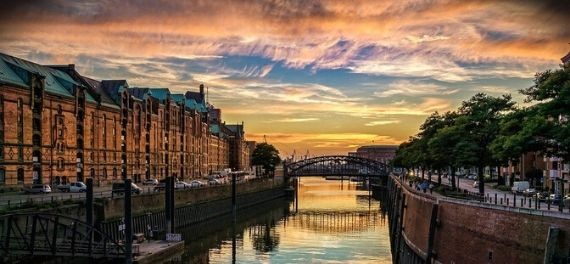 The river in Speicherstadt at sunset