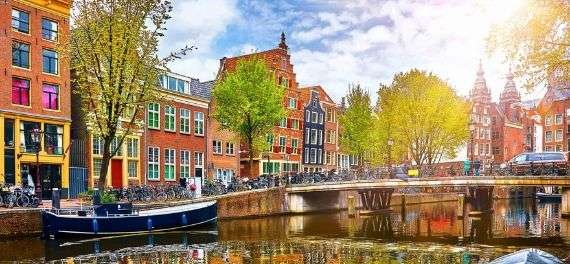 A canal and houses in Amsterdam