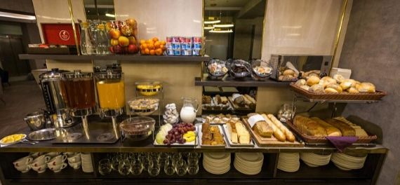 the breakfast buffet at Hotel Atrium