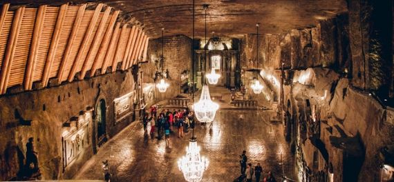 Tourists in the Wieliczka Salt Mine near Krakow