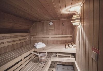 A wooden sauna at the Hotel Maria Theresia in Mayrhofen