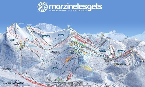 A thumbnail of a piste map of the Morzine and Les Gets ski area