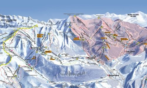 A thumbnail of a ski map of the Portes du Soleil ski area