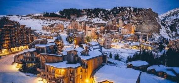 The Avoriaz ski resort at night