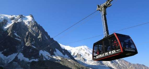 A gondola ski lift in Chamonix