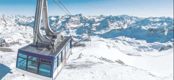 A gondola in the ski resort of Tignes