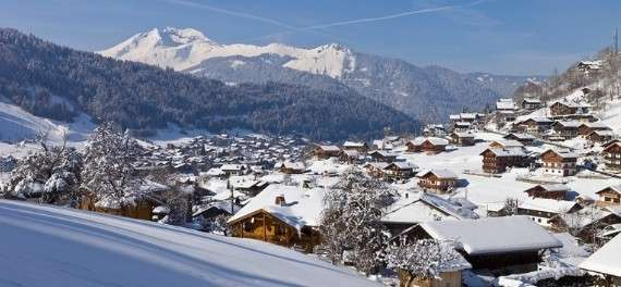 The ski resort of Morzine in the snow