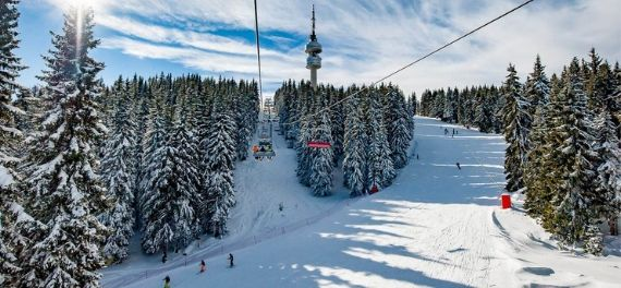 a ski lift on the mountains in Kitzbuhel