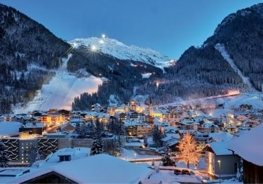The ski resort of Ischgl at night