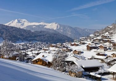 Views across the ski resort of Morzine covered in snow