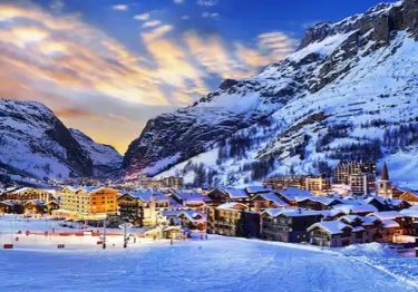 The ski resort of Val d'Isere at sun set