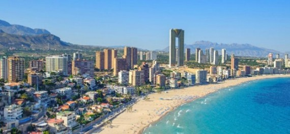 An aerial view of Benidorm beach