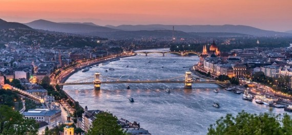 The Danube from above through the centre of Budapest