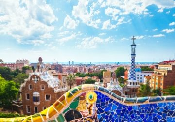 A mosaic wall with views over Barcelona