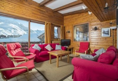 The living room in a large catered ski chalet