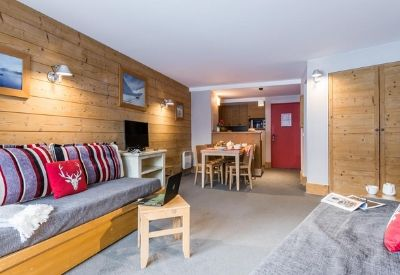 An Alpine style ski apartment with wooden walls