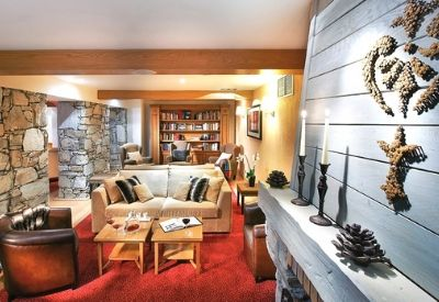 A living room with book shelves, a fire place and sofas