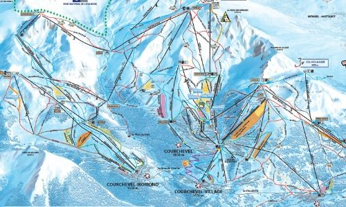 A thumbnail of a piste map of the Courchevel ski area in the Three Valleys