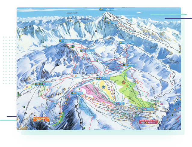 a piste map for the Alpe d'Huez ski area