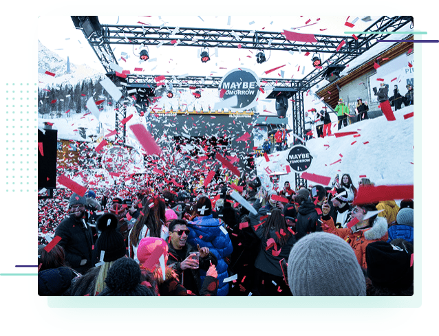 a large outdoor party at the Super G apres ski bar in Courmayeur