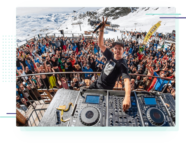a large outdoor party at the Pano apres ski bar in Les Deux Alpes