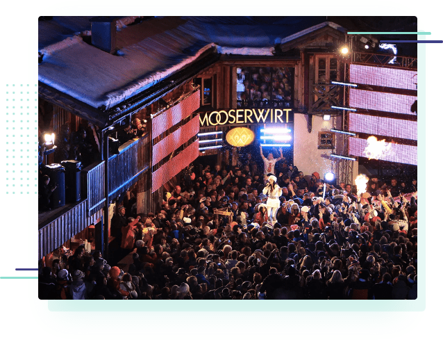 a large outdoor party at the Mooserwirt apres ski bar in St Anton