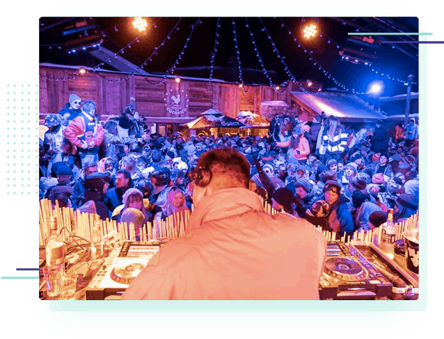 a large outdoor party at the Cocorico apres ski bar in Tignes