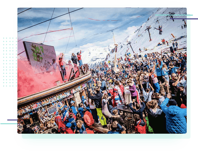 a large outdoor party at the Folie Douce apres ski bar in Val d'Isere