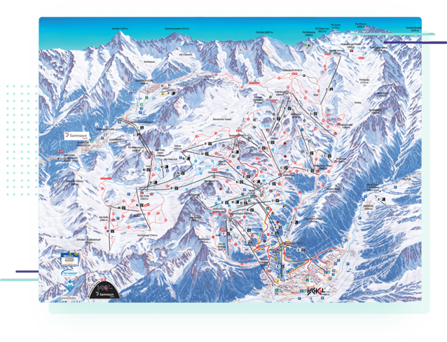 a piste map for the Ischgl ski area