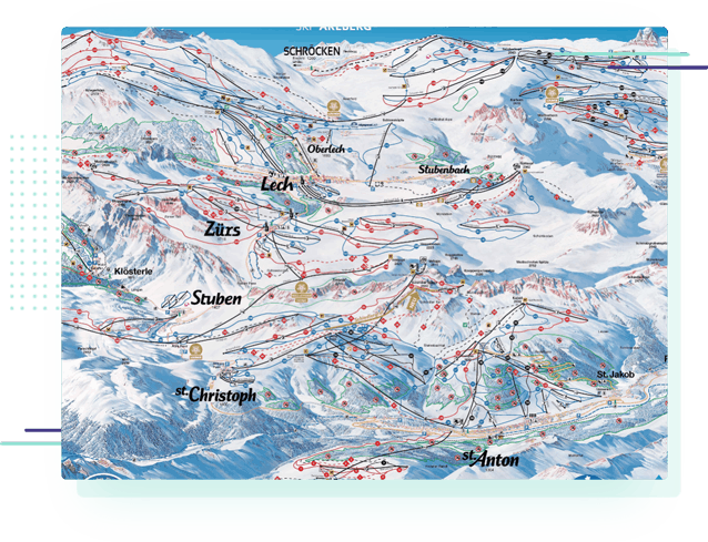 a piste map for the St Anton and Ski Arlberg area