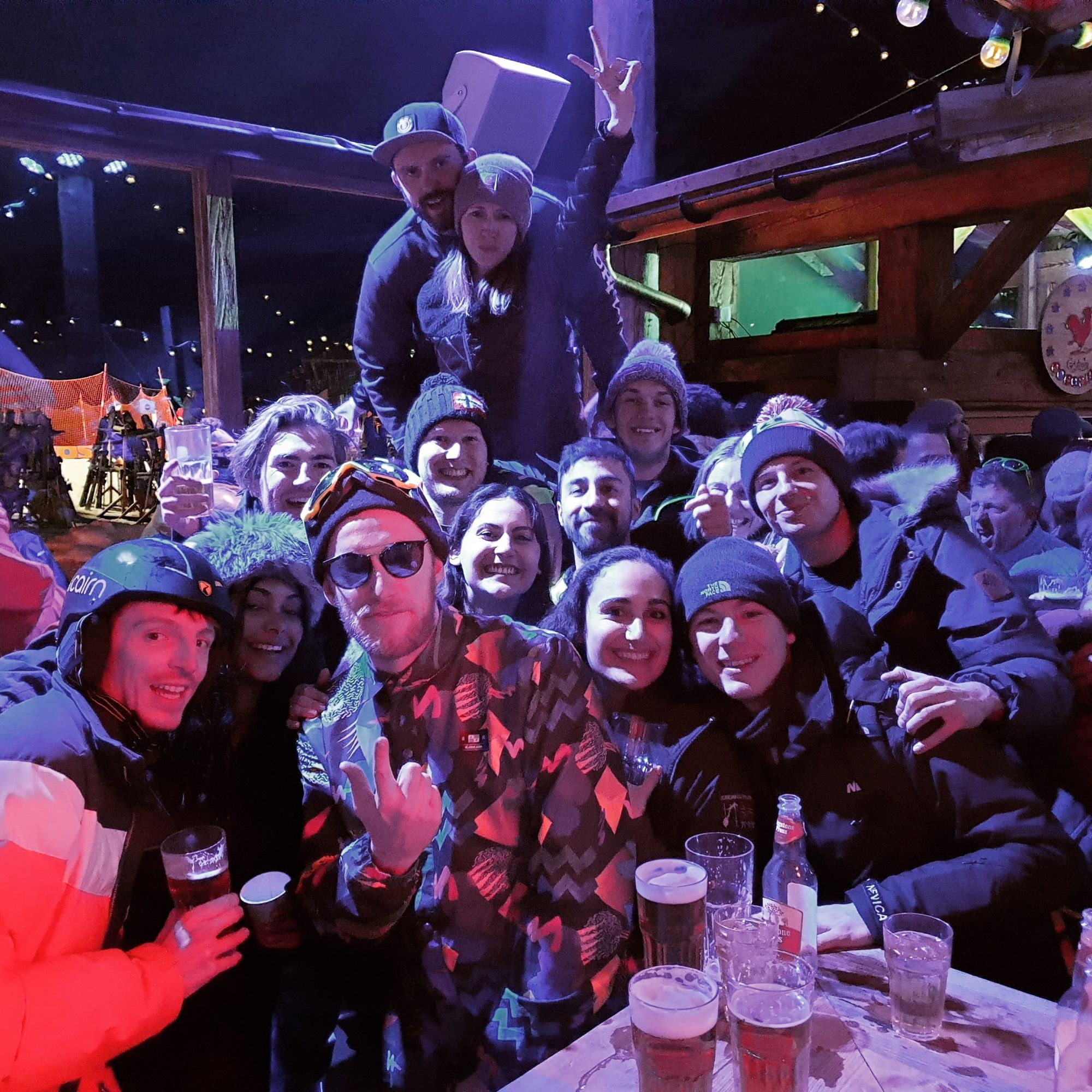 group of young people party at cocorico val d'isere