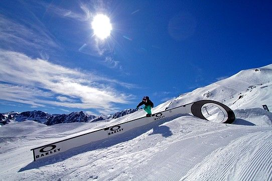 skiing on the snow park in val d'isere france