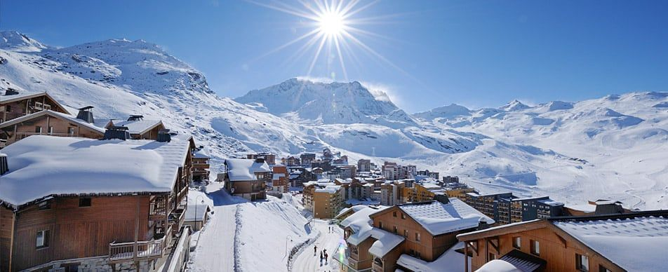 sun shining over the ski resort Val Thorens France