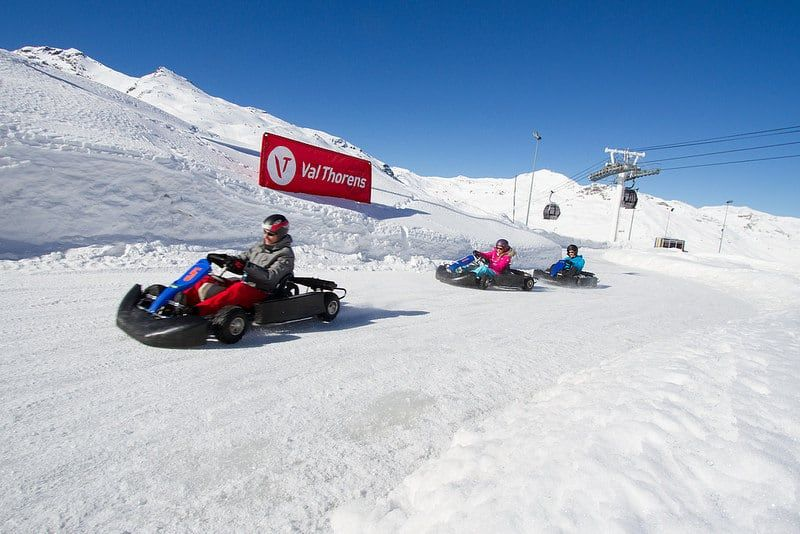 people go karting on the snow in val thorens france
