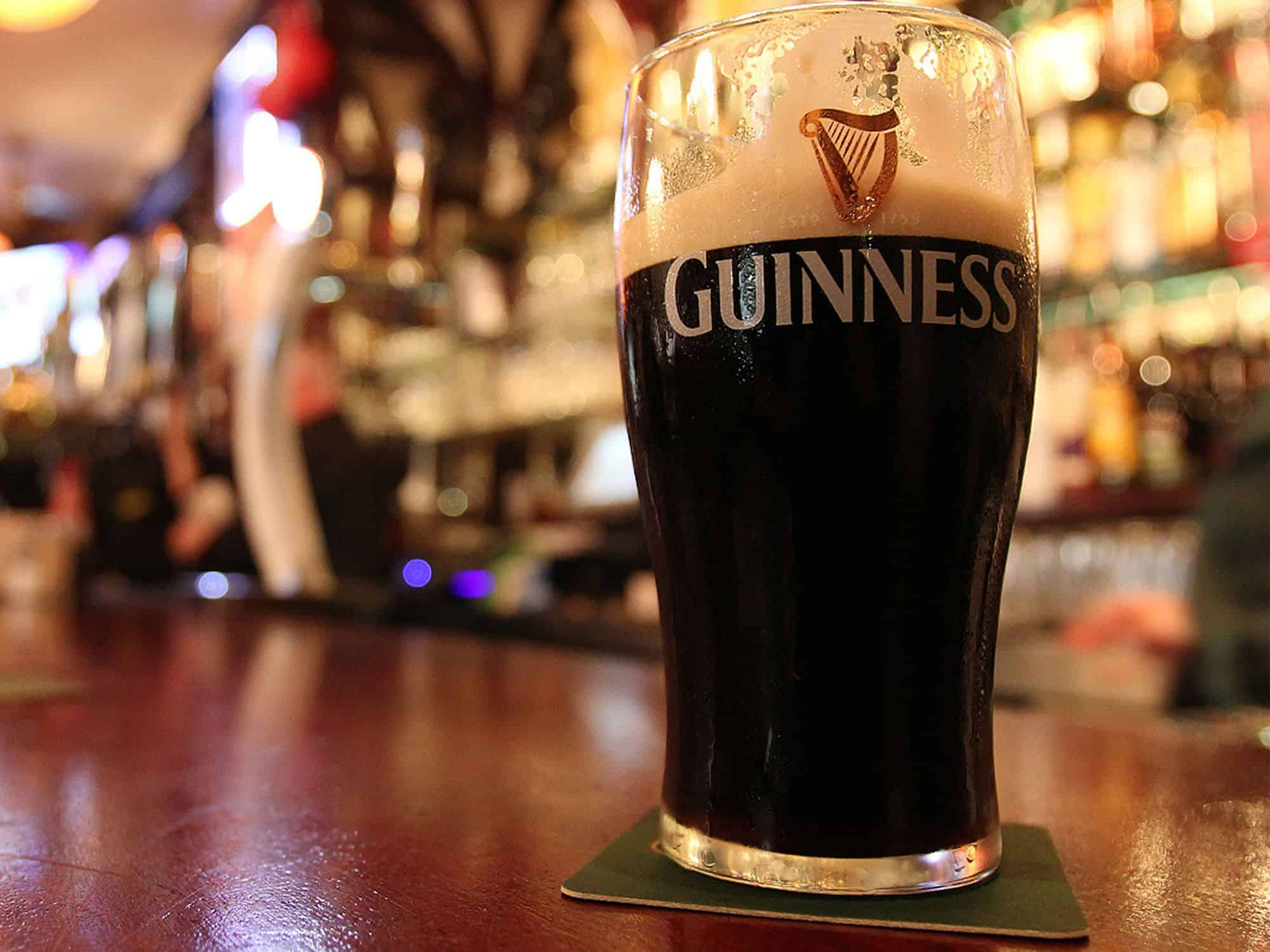 "A pint of Guinness successfully sipped to between the harp and the two Ns in ""Guinness"""
