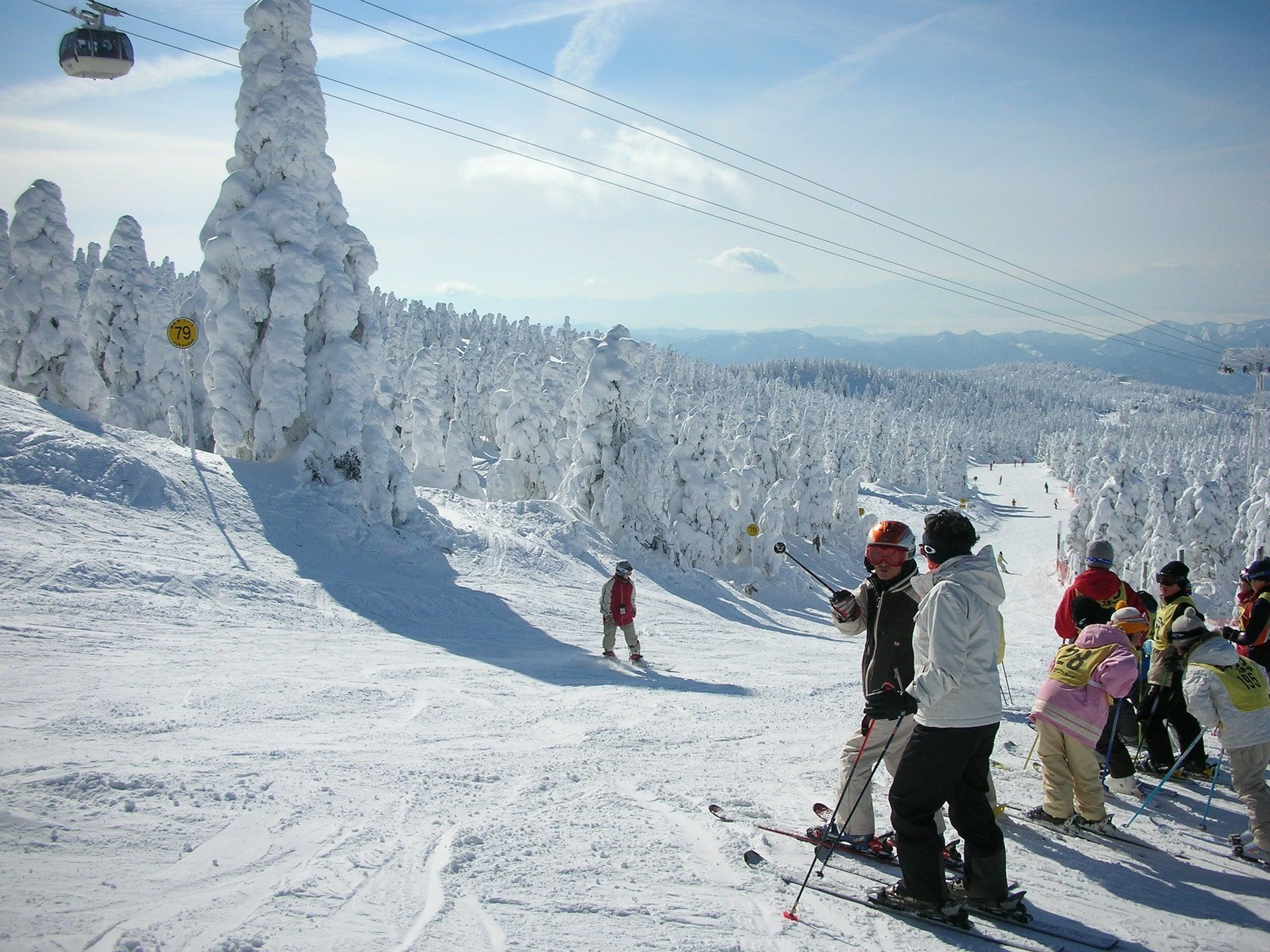 group of skiers in japan