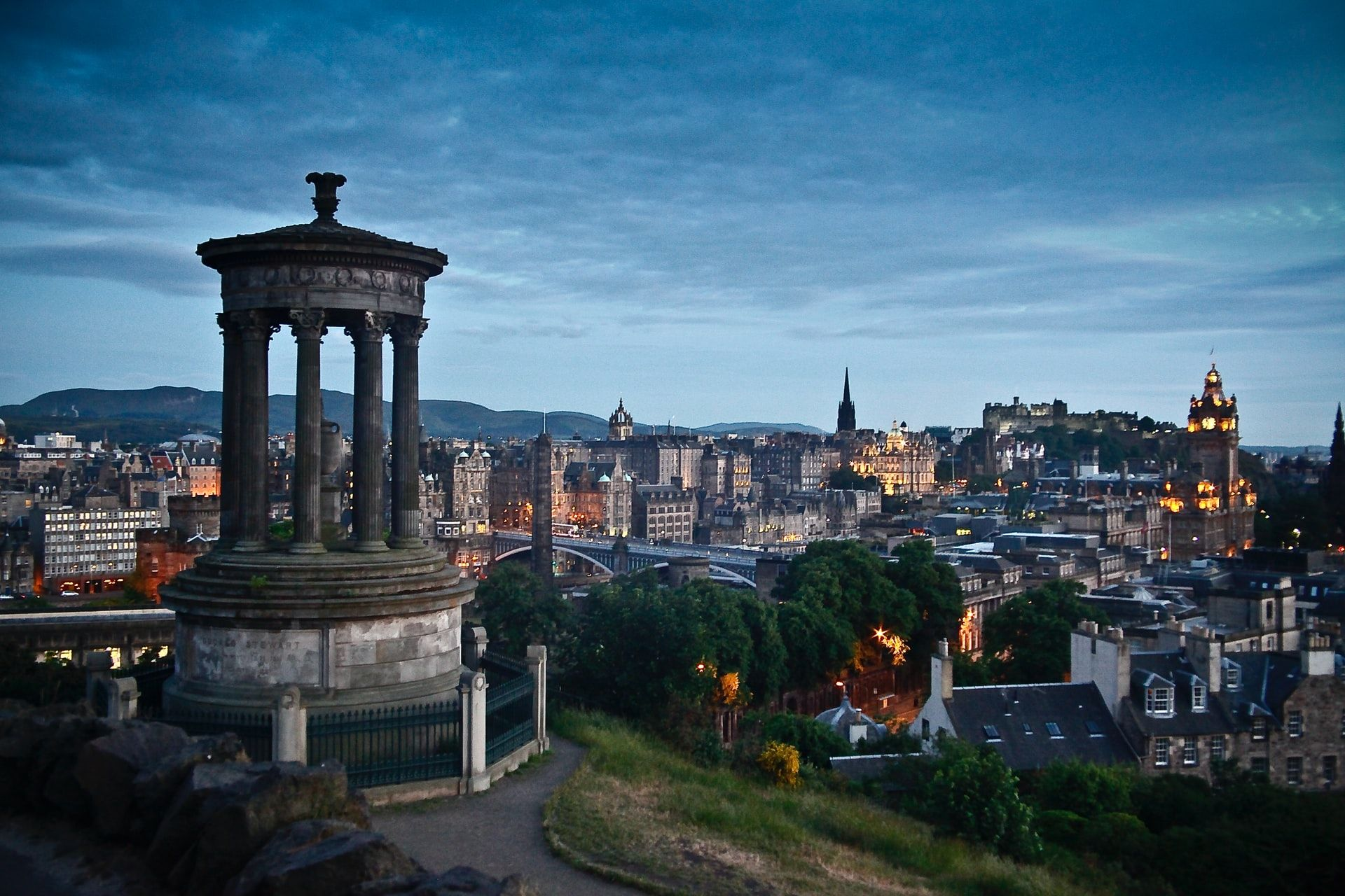 view of edinburgh skyline in the evening
