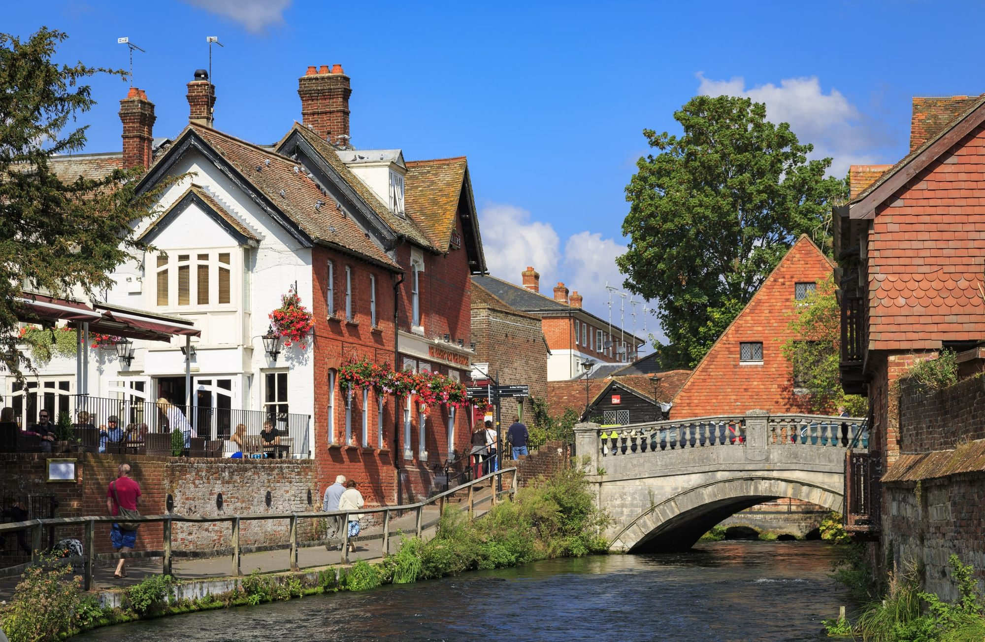 picturesque photo of a pub on the river in winchester